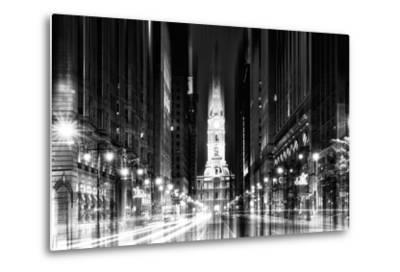 Urban Stretch Series - City Hall and Avenue of the Arts by Night - Philadelphia-Philippe Hugonnard-Metal Print