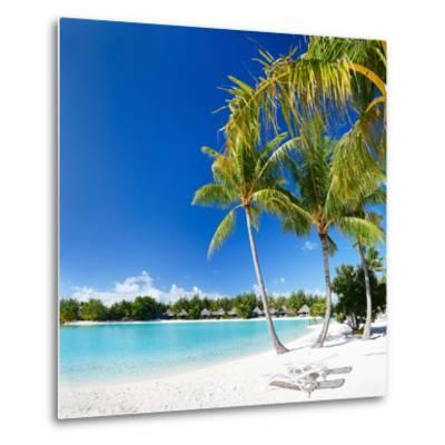 Beautiful Beach with Coconut Palms on Bora Bora Island in French Polynesia-BlueOrange Studio-Metal Print