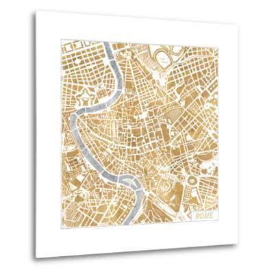 Gilded Rome Map-Laura Marshall-Metal Print
