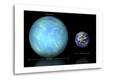 Artist's Depiction of the Difference in Size Between Earth and Kepler 22B--Metal Print