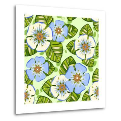 Romantic Floral Seamless Pattern-dNaya-Metal Print