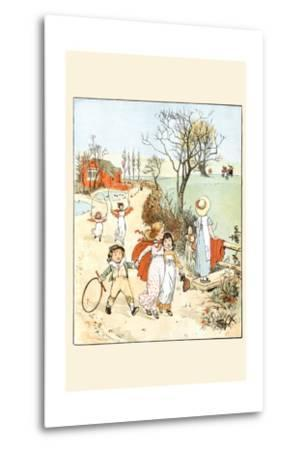Children Jumped Ropes and Played with Hoops Along a Road-Randolph Caldecott-Metal Print