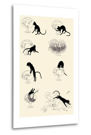Cat Versus Goldfish-Th?hile Alexandre Steinlen-Metal Print