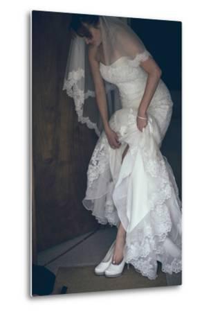 Bride in White Dress-Clive Nolan-Metal Print