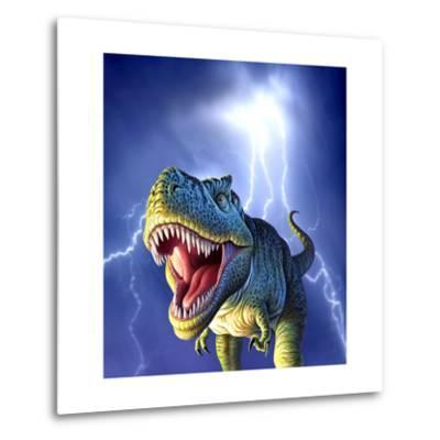 A Tyrannosaurus Rex with a Blue Stormy Sky and Lightning Behind It--Metal Print