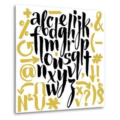 Vector Alphabet. Hand Drawn Letters. Letters of the Alphabet Written with a Brush.-veraholera-Metal Print