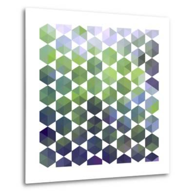 Retro Pattern of Geometric Hexagon Shapes-Little_cuckoo-Metal Print