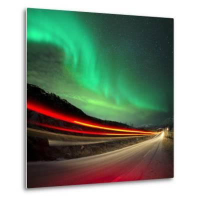 Northern Lights and Trails-Solarseven-Metal Print