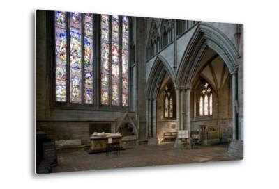 Aisle and Stained Glass Window in Hereford Cathedral--Metal Print