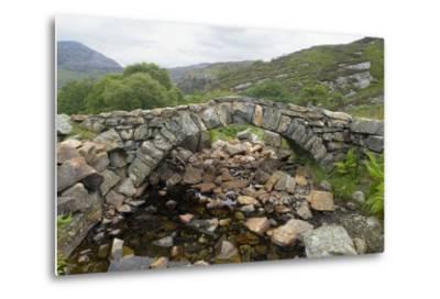 Ancient Arched Stone Bridge across Mountain Stream--Metal Print