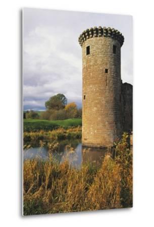 Circular Flanking Tower Along Walls of Caerlaverock Castle--Metal Print