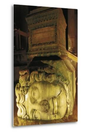 Colossal Head of Medusa Used as the Base of a Column in the Basilica Cistern--Metal Print