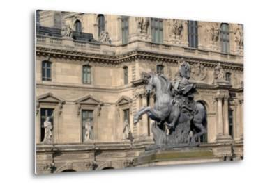 Equestrian Statue of King Louis XIV (1638-1715) in Cour Napoleon (Napoleon Courtyard) of Louvre Pal--Metal Print
