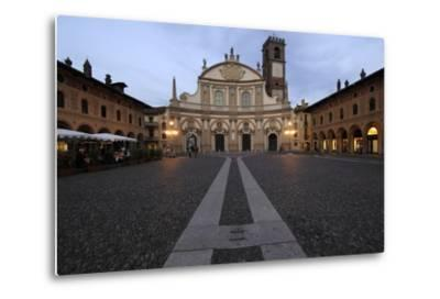 Facade of Vigevano Cathedral (1680)--Metal Print