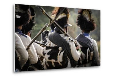 Historical Reenactment: Austrian Imperial Soldiers in the Venetian Countryside--Metal Print