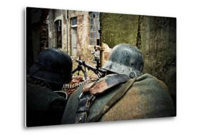 Historical Reenactment: Wehrmacht Soldiers with Mg34 Machine Guns (Maschinengewehr 34) in Factory i--Metal Print