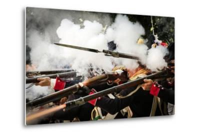 Historical Reenactment: French Front-Line Infantry Firing on Enemy--Metal Print