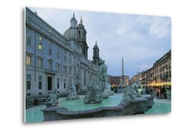 Piazza Navona with Moor Fountain--Metal Print