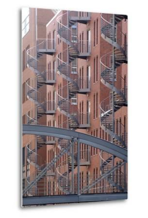 Spiral Staircases on Facades of Some Former Warehouses Destined for Repurposing--Metal Print