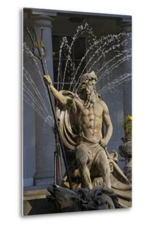 The Neptune Fountain with the Regency Style Municipal Offices in the Background--Metal Print