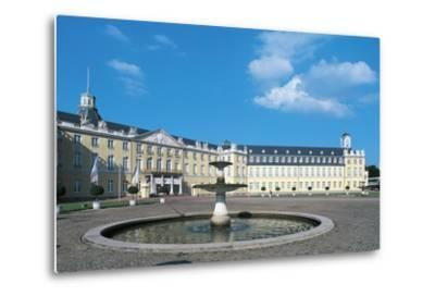 The Fountain in Karlsruhe Palace Courtyard--Metal Print