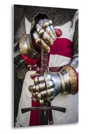 Historical Reenactment: Crusader Knight with Sword and Gauntlets with Jointed Iron Protective Cover--Metal Print