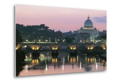 Night View of Dome of St Peter's Basilica--Metal Print