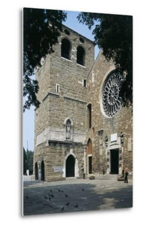 Side Profile of a Senior Man Walking in Front of a Basilica--Metal Print