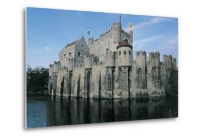 Low Angle View of a Castle, Gravensteen Castle, Ghent, East Flanders, Flanders, Belgium--Metal Print