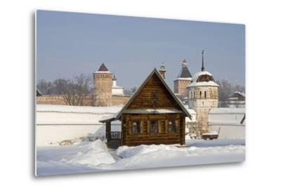 Isba, Traditional Wooden House Near the Convent of the Intercession in Suzdal, Golden Ring, Russia--Metal Print