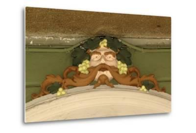 Mask of Bacchus, Painted Stucco Architectural Decoration, Vercelli, Piedmont, Italy--Metal Print