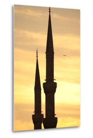 Turkey. Istanbul. Blue Mosque. 17th Century. Classical Ottoman Style. Sunset and Minarets--Metal Print