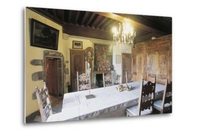 Dining Room, 1659, Chateau of Lespinasse, 12th Century, Auvergne, France--Metal Print