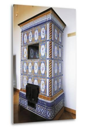 Ceramic Stove Top, 18th Century Inside Chateau of Montbeliard, Franche-Comte, France--Metal Print