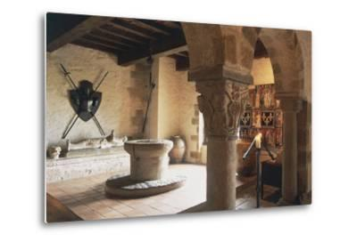 Guardroom of Chateau of Busseol, Founded in 12th Century, Auvergne, France--Metal Print