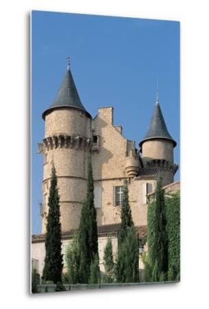 Low Angle View of a Castle, Chateau De Margon, Languedoc-Rousillon, France--Metal Print
