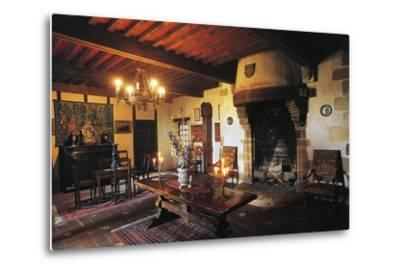 Dining Room of Chateau of Busseol, Founded in 12th Century, Auvergne, France--Metal Print
