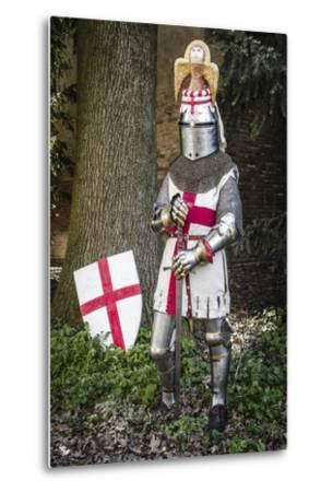 Historical Reenactment: Knight with Armour, Chain Mail and Sword, 14th Century--Metal Print