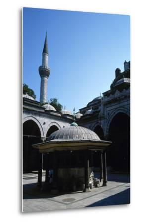 Turkey. Istanbul. Bayezid II Mosque. Ottoman Style. 16th Century. Courtyard and Ablution Fountain--Metal Print