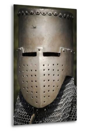 Historical Reenactment: Medieval Knight with Great Helm and Chain Mail, 13th Century--Metal Print