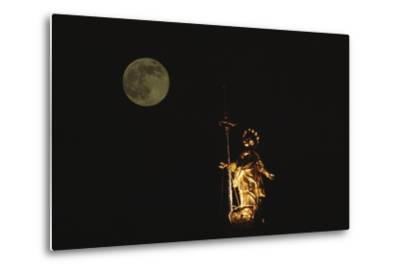 Madonnina Atop the Cathedral of Milan, Nighttime with Full Moon, Lombardy, Italy--Metal Print
