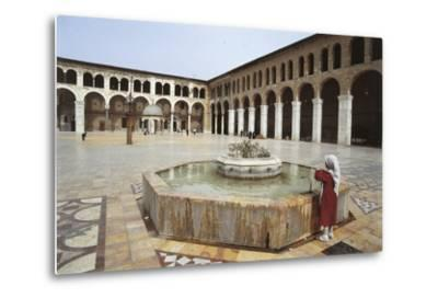 Rear View of a Woman Standing Near a Fountain in a Mosque, Umayyad Mosque, Damascus, Syria--Metal Print