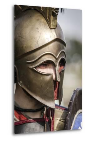 Historical Reenactment: Ancient Greek Warrior Wearing Corinthian Helmet--Metal Print