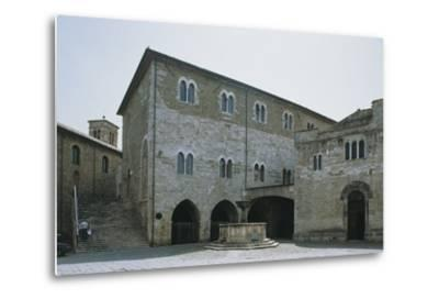 Low Angle View of a Building, Silvestri Square, Bevagna, Perugia Province, Umbria, Italy--Metal Print