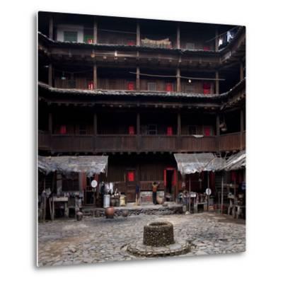 Fujian Tulou (Fortified Earth Building), Tin Shi Lou, Meilin, Fujian Province, China--Metal Print