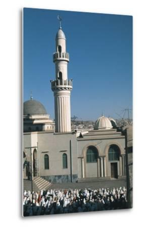 High Angle View of a Large Group of People Praying Outside a Mosque, Asmara, Etitrea, Ethiopia--Metal Print