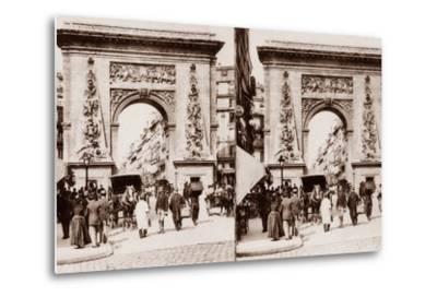 Stereoscopic View of Porte St Denis, Paris, 1890--Metal Print