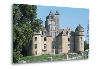 Lawn in Front of a Castle, Ayna, Midi-Pyrenees, France--Metal Print