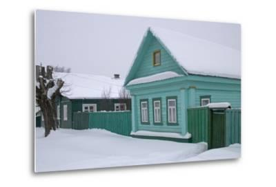 Traditional Wooden House, Pereslavl-Zalessky, Golden Ring, Russia--Metal Print