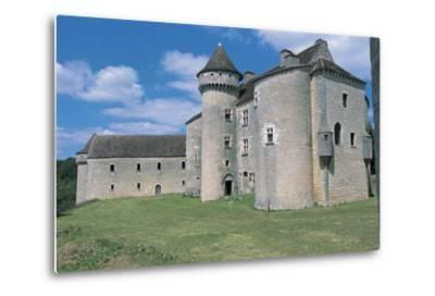 Low Angle View of a Castle, Vaillac Castle, Aquitaine, France--Metal Print